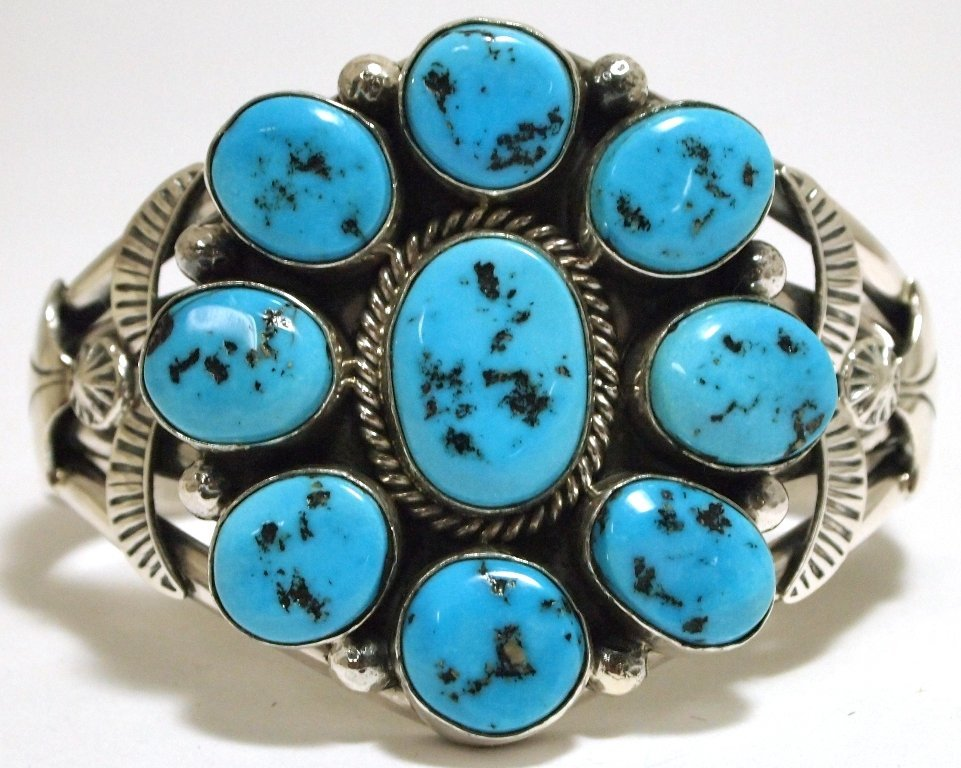 Navajo Sleeping Beauty Turquoise Sterling Silver Cuff B