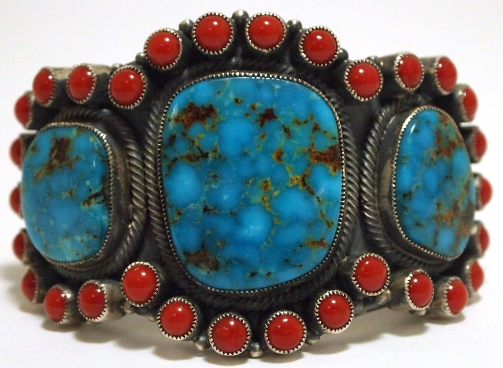 Old Pawn Navajo Mountain Turquoise & Coral Sterling Sil