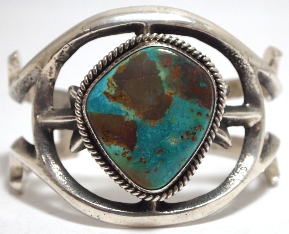 Old Pawn Navajo Green Mountain Turquoise Sterling Silve