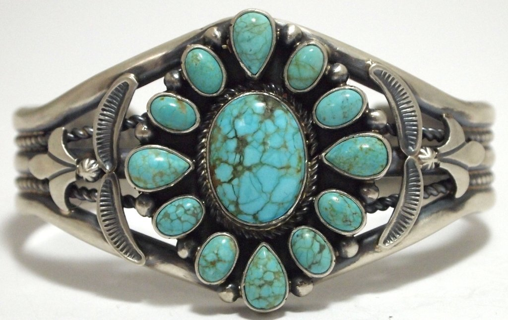 Old Pawn Navajo Spider Web Kingman Turquoise Sterling S