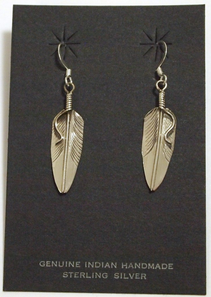 Navajo Sterling Silver Feather French Hook Earrings - C