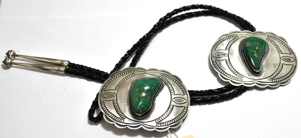 Old Pawn King's Manassa Turquoise Sterling Silver Bolo