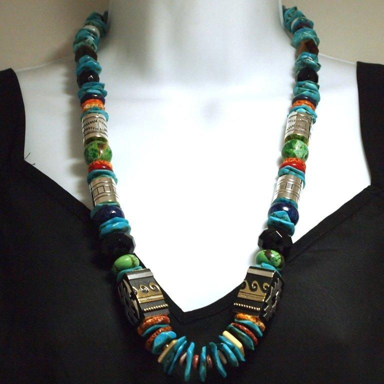 Navajo Turquoise Heishi & Multi-Stone Necklace - Richar