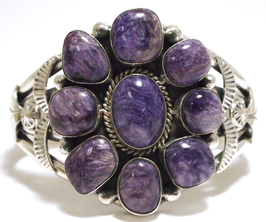Navajo Sugilite Cluster Sterling Silver Cuff Bracelet -