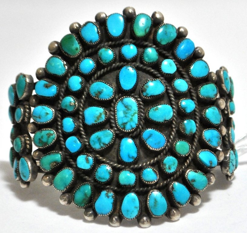 Old Pawn Turquoise Petit Point Sterling Silver Cuff Bra
