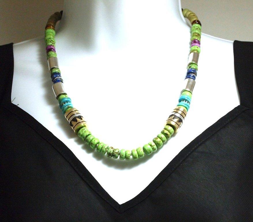 Navajo Gaspeite & Multi-Stone Necklace - Tommy Singer