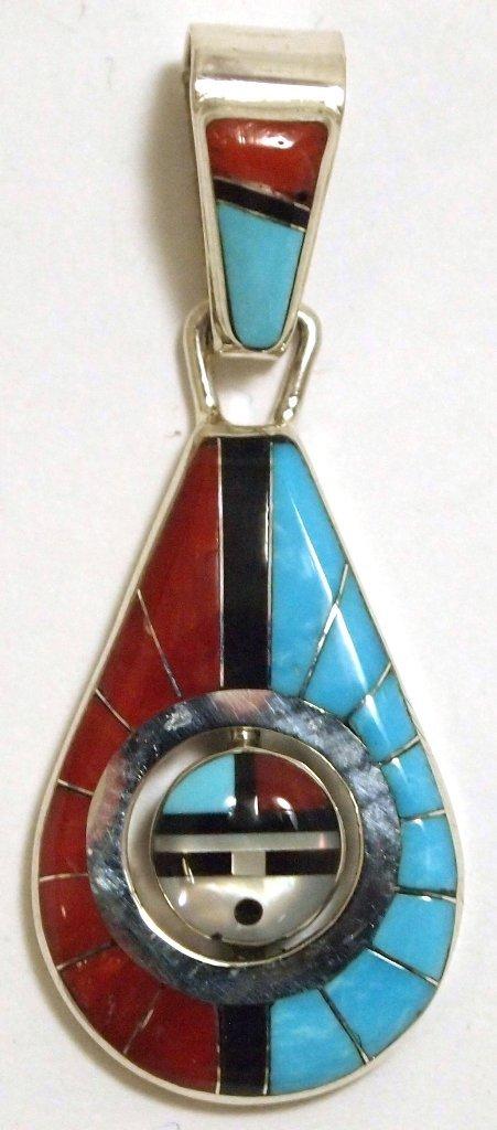 Zuni Multi-Stone Sun Face Spinner Sterling Silver Penda