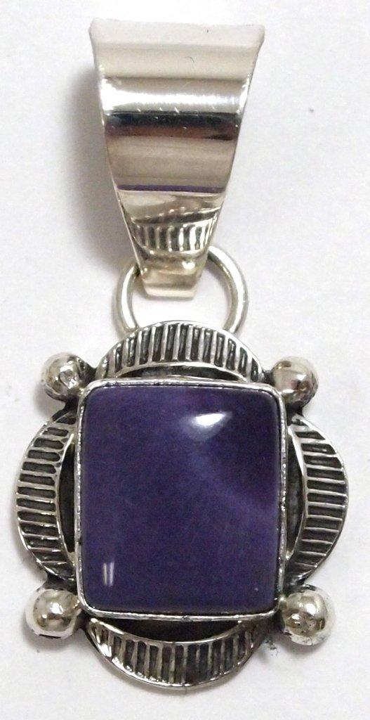 Navajo Sugilite Sterling Silver Pendant - Mary Ann Spen