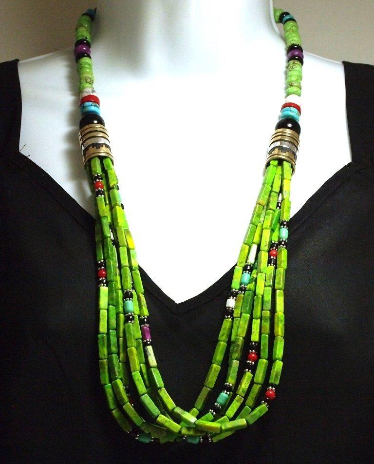 Navajo Gaspeite Green Turquoise & Multi-Stone 6-Strand