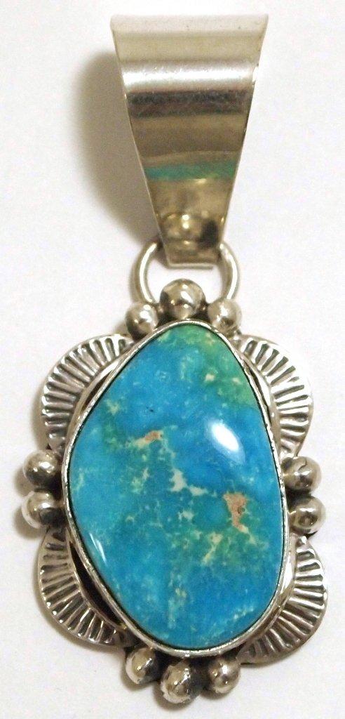 Navajo Pilot Mountain Turquoise Sterling Silver Pendant