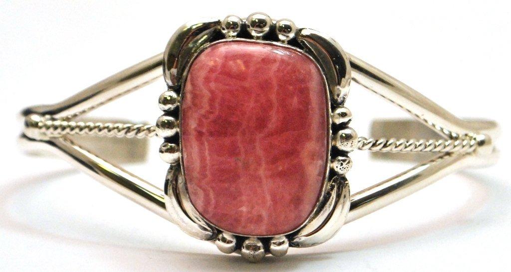 Navajo Rhodochrosite Sterling Silver Cuff Bracelet - Ma