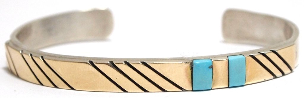 Old Pawn Navajo Turquoise & 14k Gold over Sterling Silv