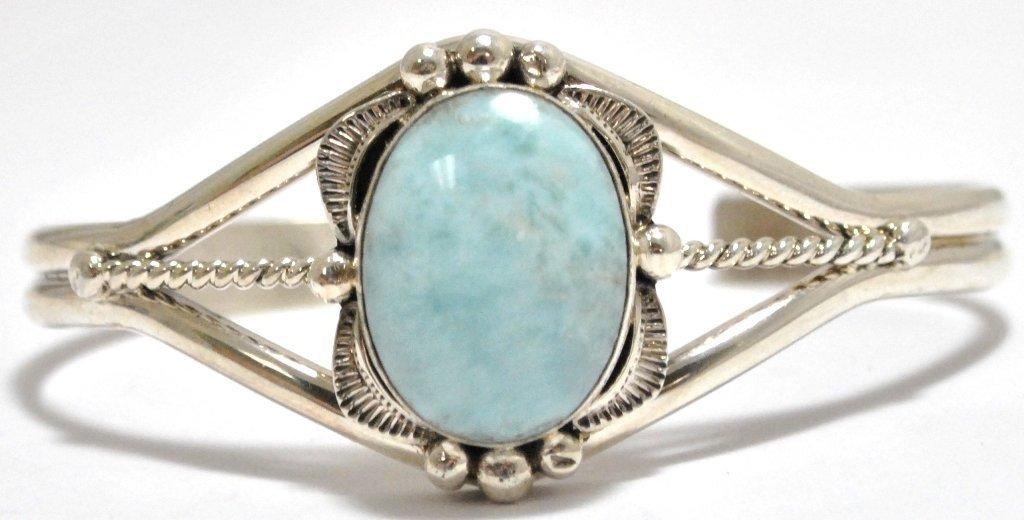 Navajo Larimar Sterling Silver Cuff Bracelet - Mary Ann