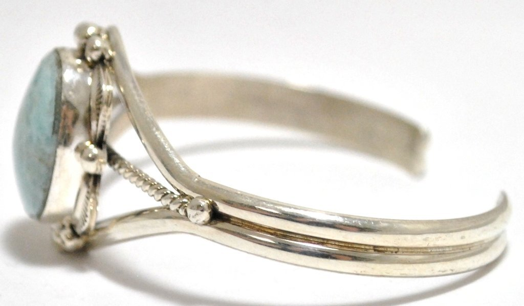 Navajo Larimar Sterling Silver Cuff Bracelet - Mary Ann - 2