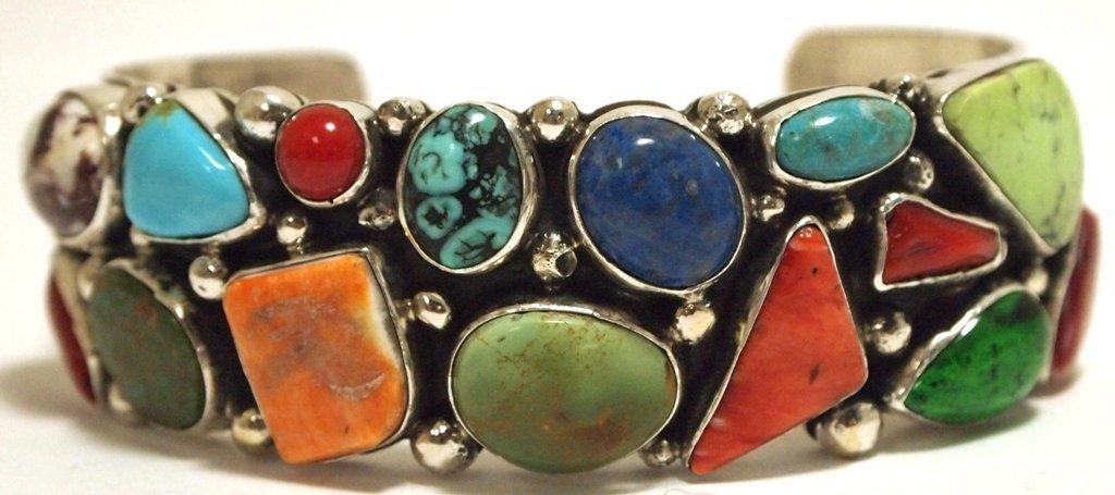 Dead Pawn Navajo Multi-Stone Sterling Silver Cuff Brace