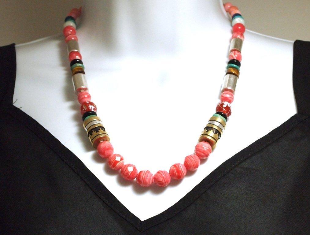 Navajo Rhodochrosite & Multi-Stone Necklace - Tommy Sin