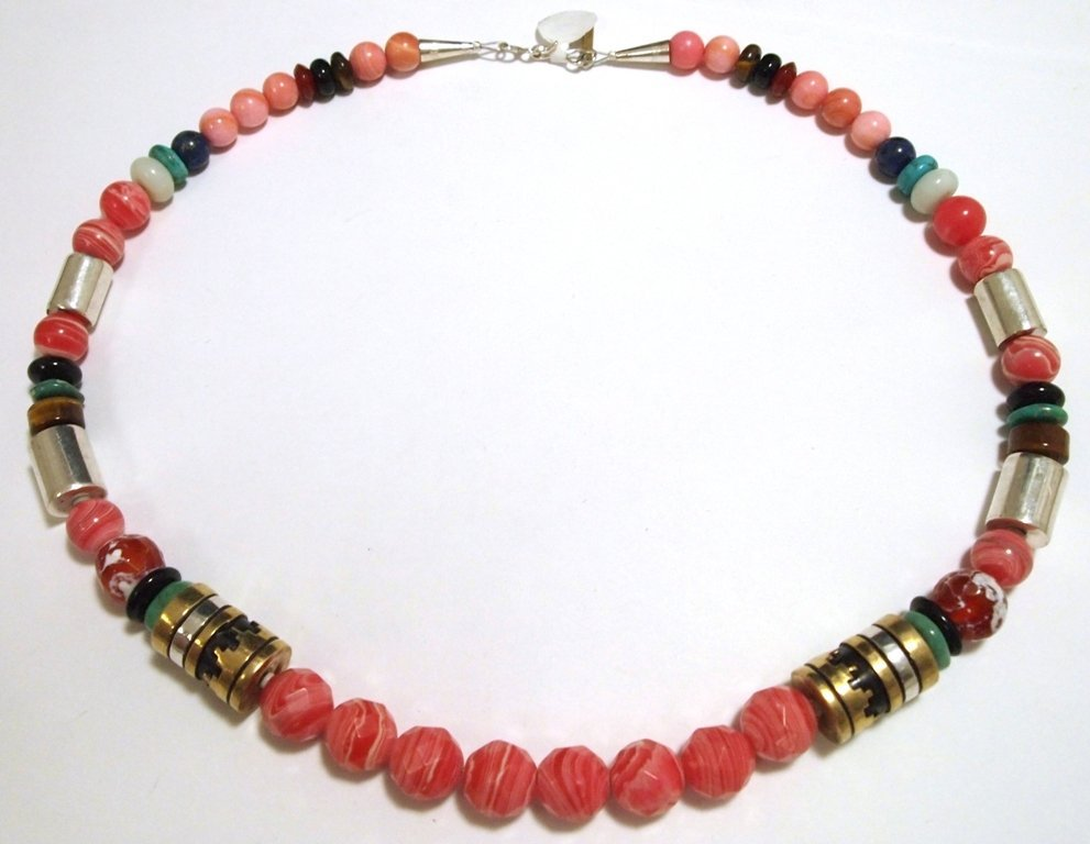 Navajo Rhodochrosite & Multi-Stone Necklace - Tommy Sin - 3