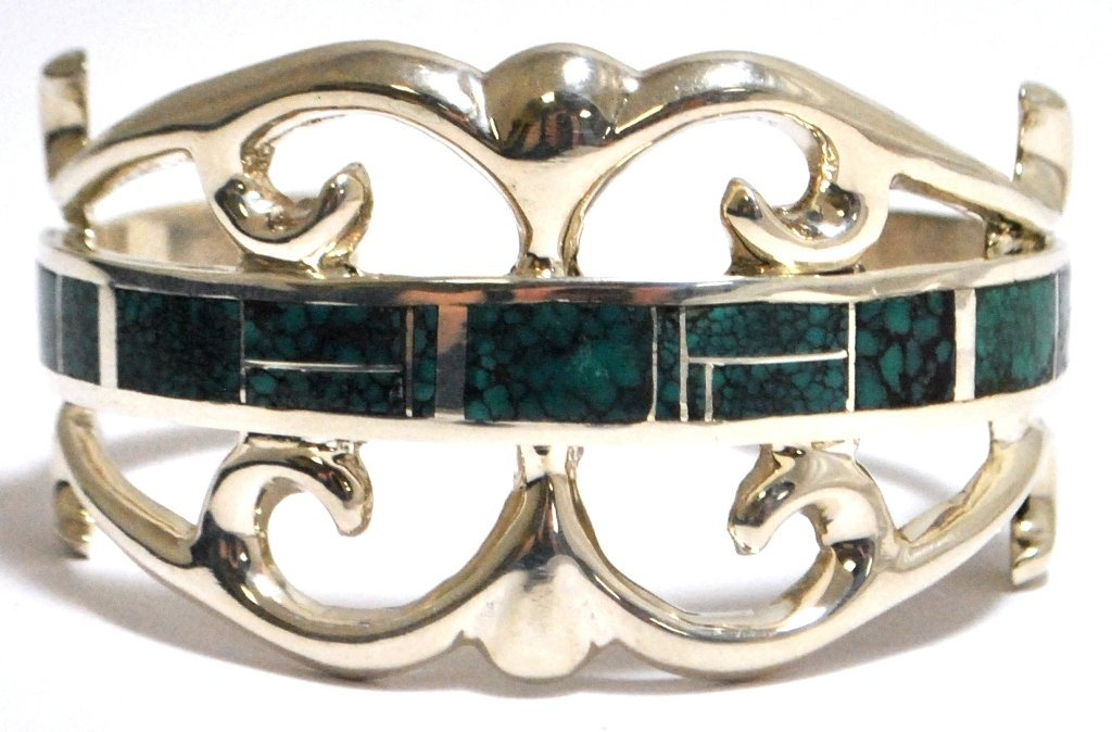 Old Pawn Spider Web Kingman Turquoise Inlay Sterling Si