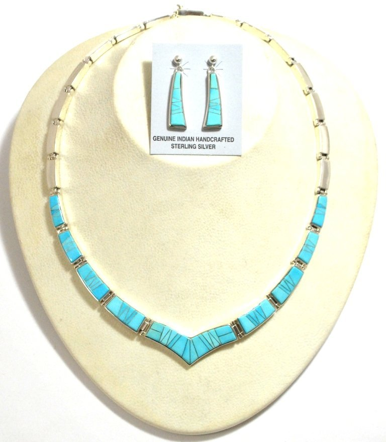 Navajo Turquoise Inlay Sterling Silver Link Necklace &