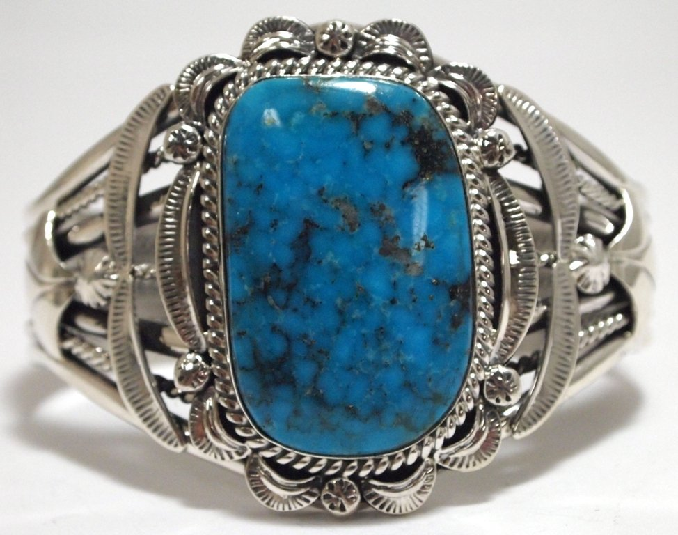 Navajo Morenci Turquoise Sterling Silver Cuff Bracelet