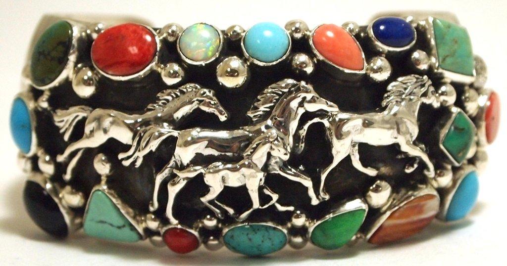 Navajo Multi-Stone Sterling Silver Horses Cuff Bracelet