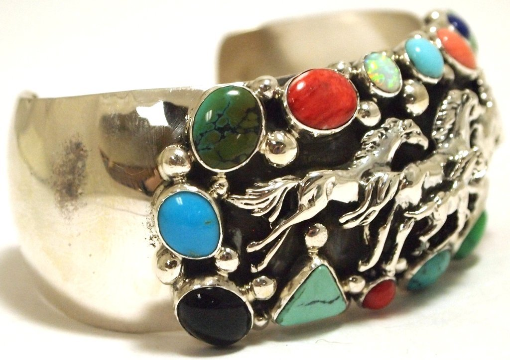 Navajo Multi-Stone Sterling Silver Horses Cuff Bracelet - 2