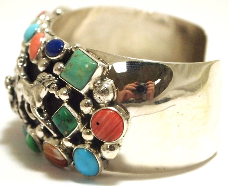 Navajo Multi-Stone Sterling Silver Horses Cuff Bracelet - 3