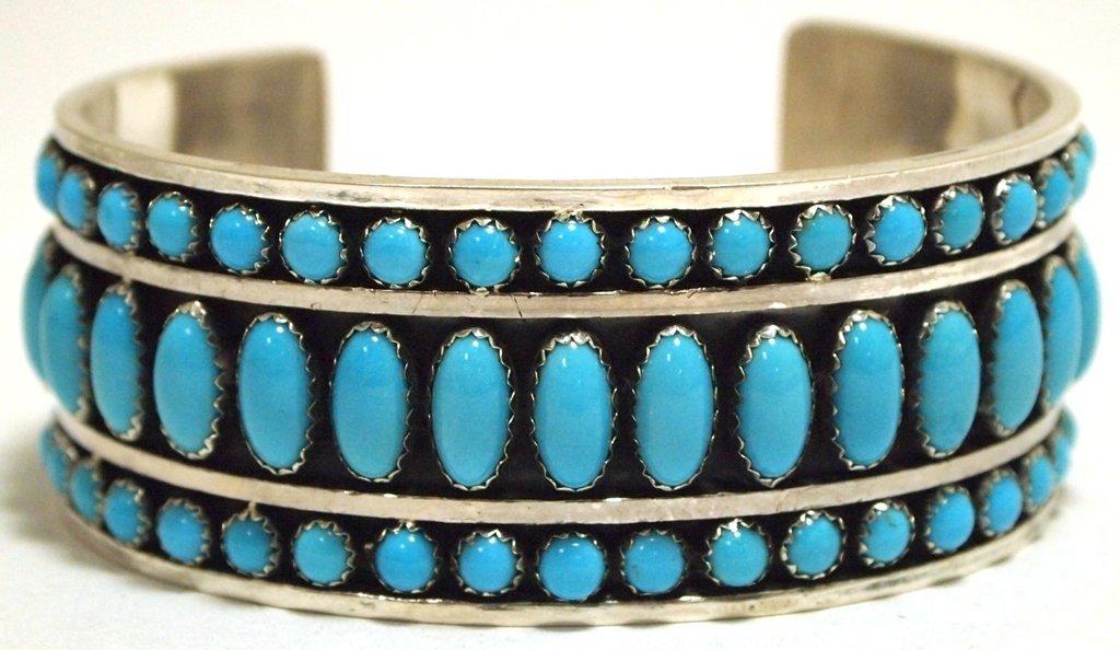 Navajo Turquoise Sterling Silver Cuff Bracelet - Daniel