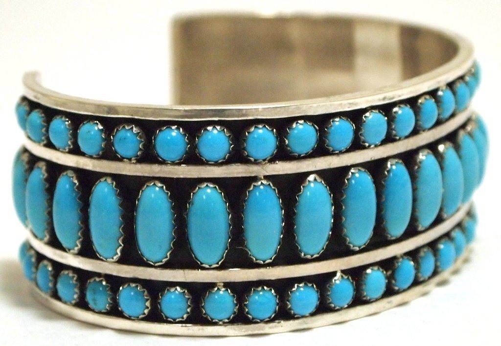 Navajo Turquoise Sterling Silver Cuff Bracelet - Daniel - 2