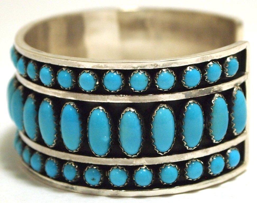 Navajo Turquoise Sterling Silver Cuff Bracelet - Daniel - 3
