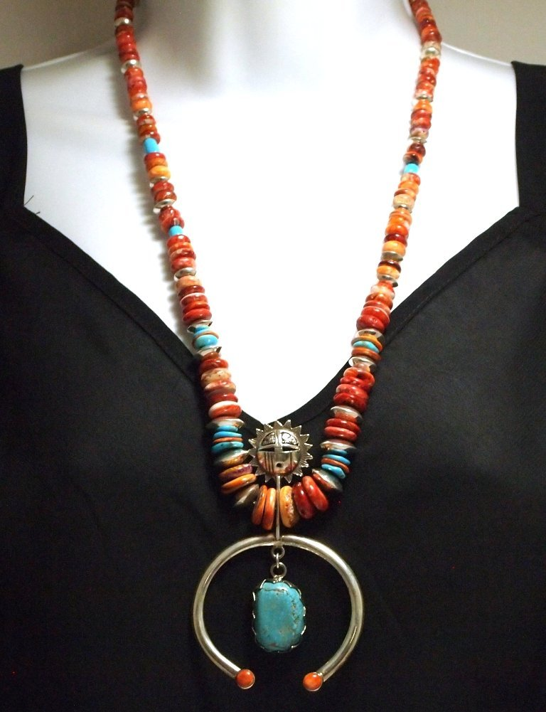 Navajo Spiny Oyster & Turquoise Sterling Silver Necklac