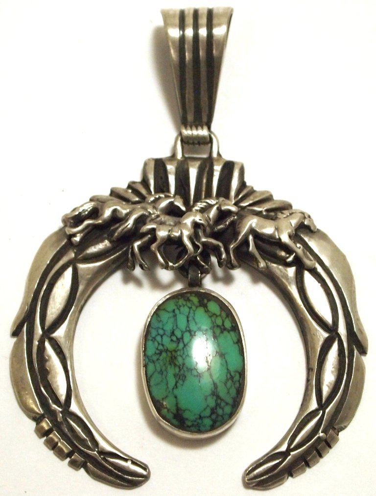 Dead Pawn Navajo Spider Web Turquoise Sterling Silver N