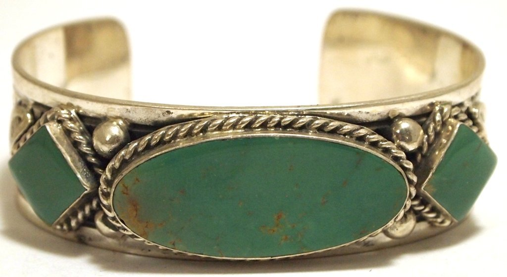 Old Pawn Navajo Green Turquoise Sterling Silver Cuff Br