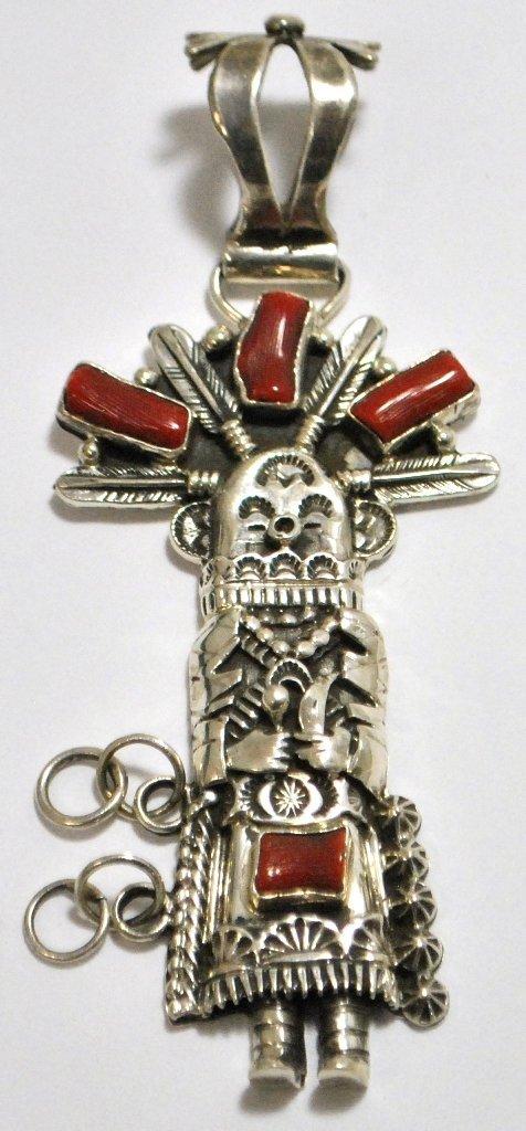 Old Pawn Coral Kachina Sterling Silver Pendant - Daniel
