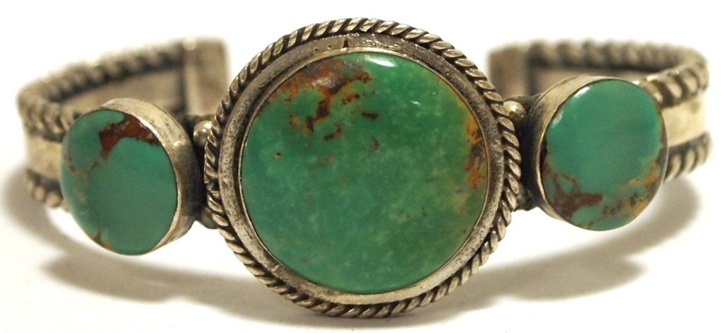 Old Pawn Navajo Green Fox Turquoise Sterling Silver Cuf