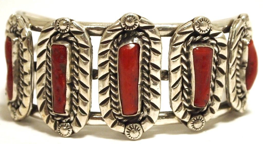 Old Pawn Navajo Coral Sterling Silver Cuff Bracelet - D