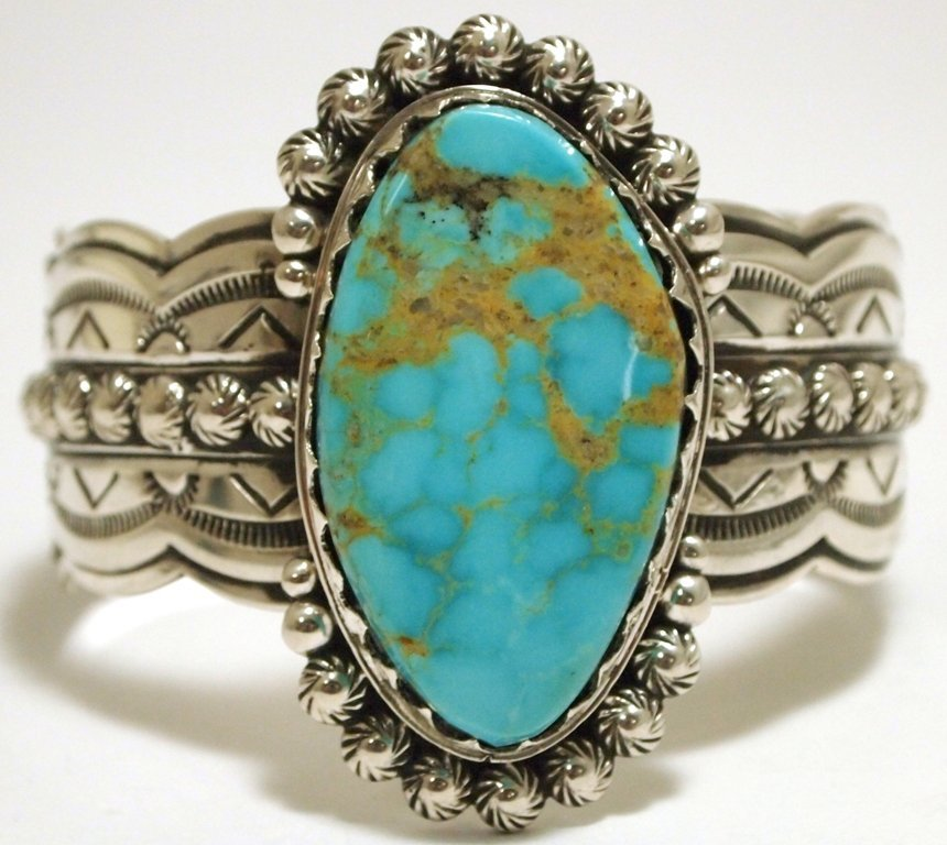 Old Pawn Navajo Mountain Turquoise Sterling Silver Cuff