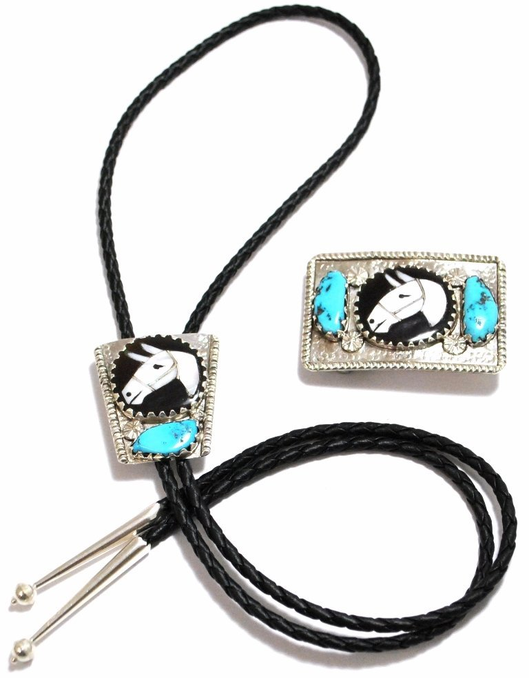 Old Pawn Zuni Multi-Stone Inlay Horse Sterling Silver B