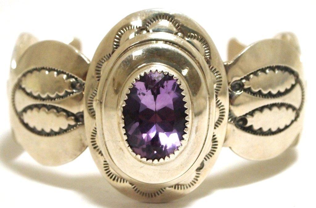 Dead Pawn Navajo Amethyst Sterling Silver Cuff Bracelet