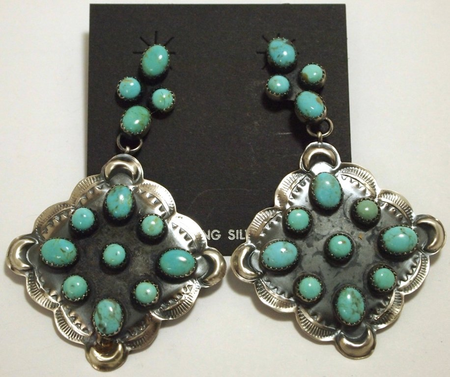 Navajo Turquoise Sterling Silver Post Earrings - Albert