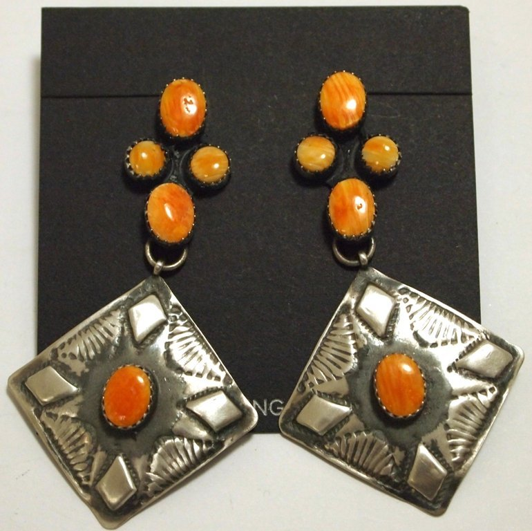 Navajo Orange Spiny Oyster Sterling Silver Post Earring