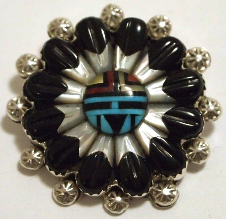 Zuni Multi-Stone Inlay Sun Face Sterling Silver Pin - B