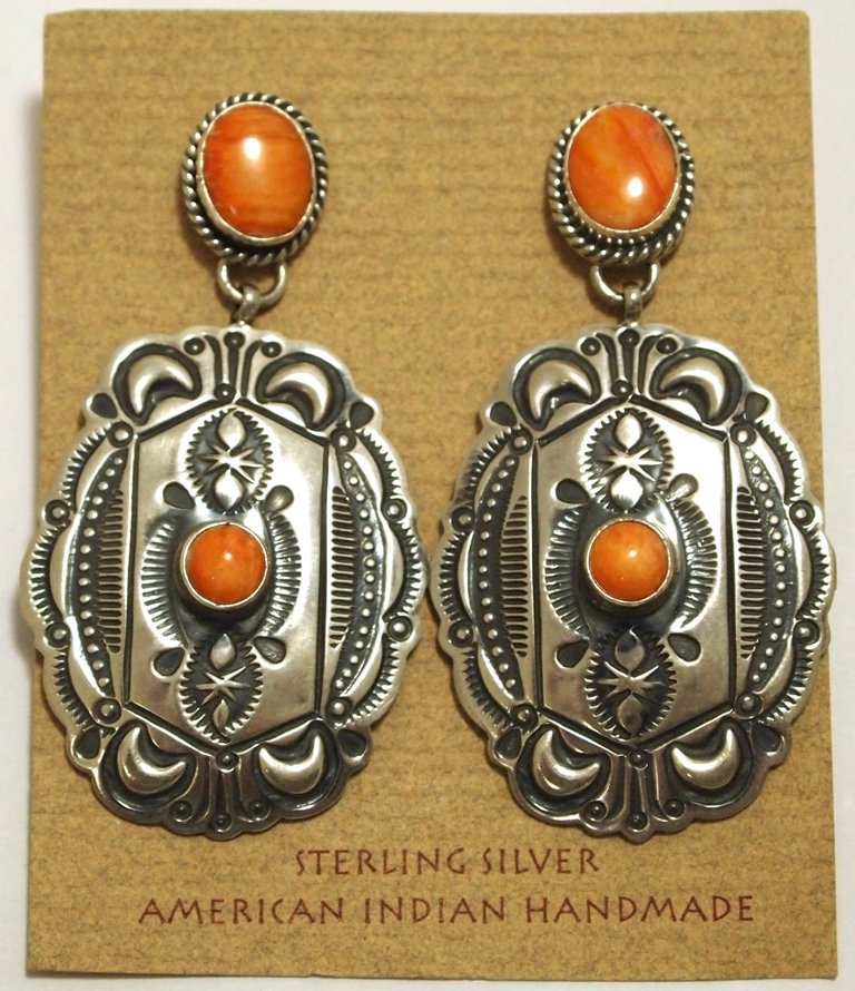 Old Pawn Navajo Orange Spiny Oyster Sterling Silver Pos