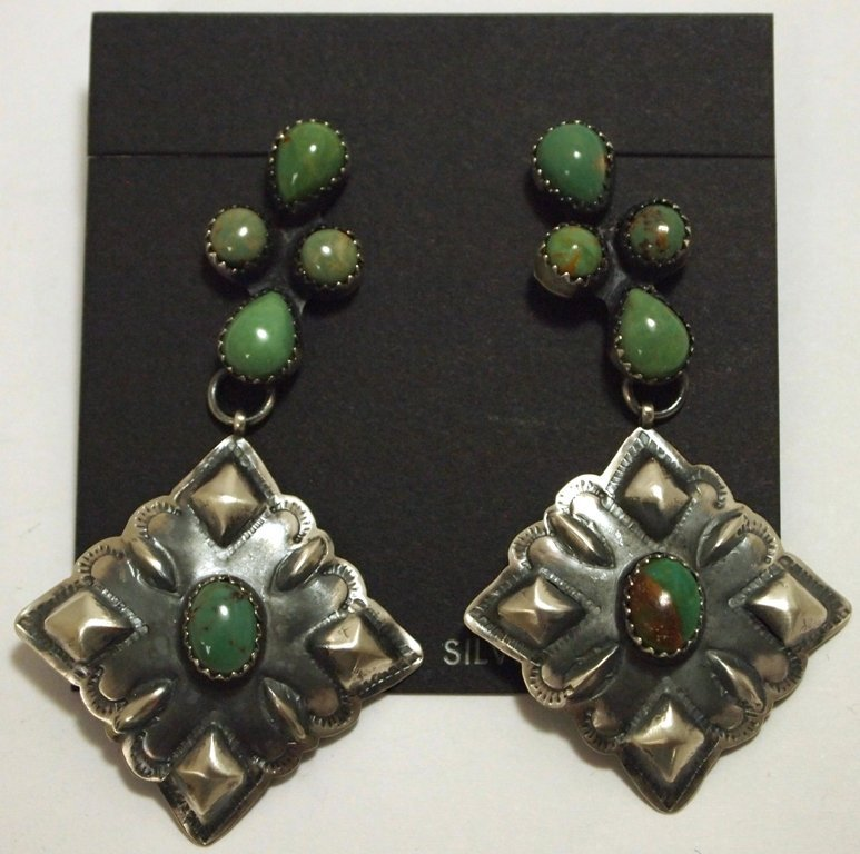 Navajo Green Turquoise Sterling Silver Post Earrings -
