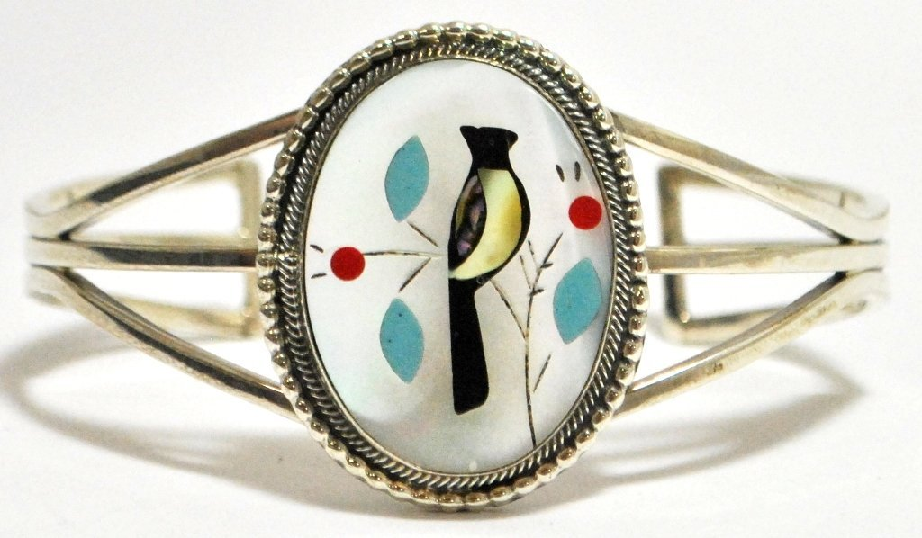 Zuni Multi-Stone Inlay Bird Sterling Silver Cuff Bracel