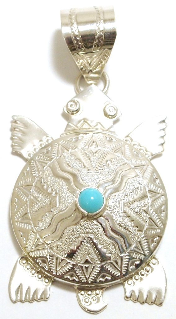 Navajo Turquoise Sterling Silver Turtle Pendant - Alonz
