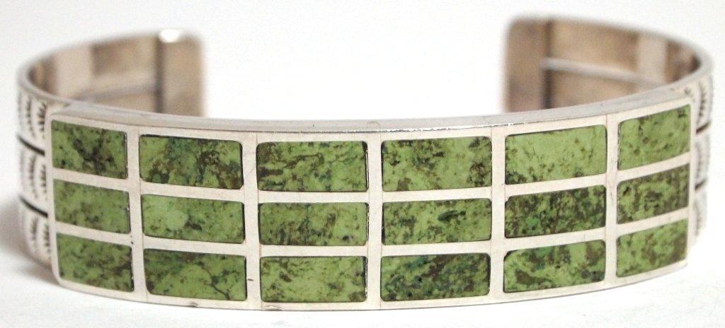 Navajo 3-Row Gaspeite Sterling Silver Cuff Bracelet - F