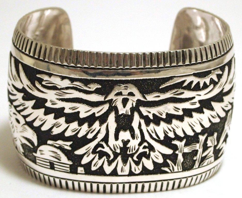 Navajo Sterling Silver Eagle Large Cuff Bracelet - Rich