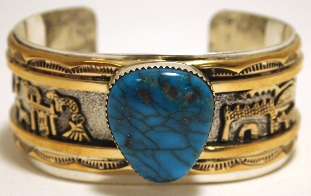Old Pawn Navajo Turquoise 12k Gold Fill Sterling Silver