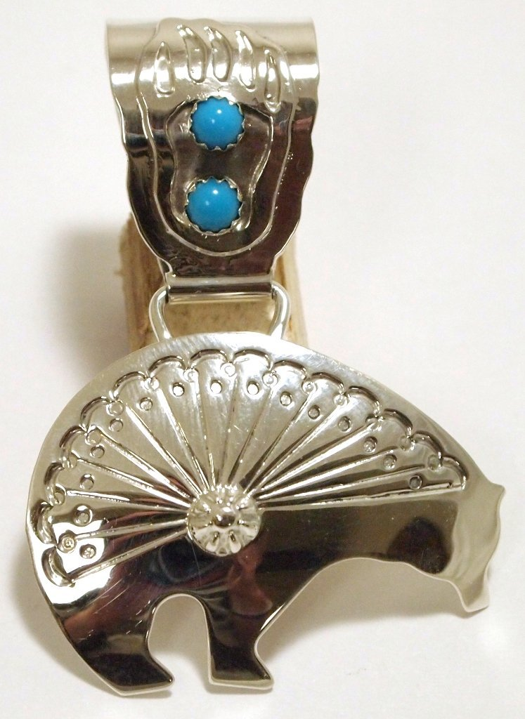 Old Pawn Navajo Turquoise Sterling Silver Bear Pendant